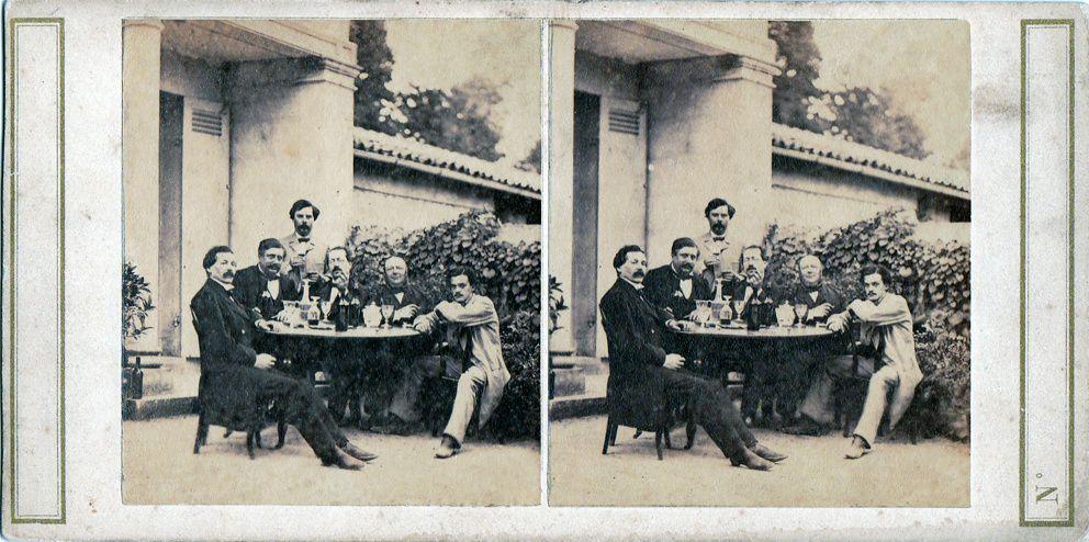 Vue stéréoscopique d'une scène d'absinthe. Collection Delahaye.