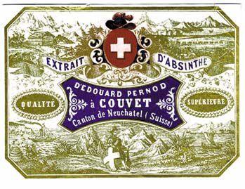 Étiquette pour l'absinthe Édouard Pernod à Couvet, canton de Neuchâtel. Collection J.F. Bitaud.