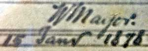 Signature au bas des tableaux : W Mayor 15 janvier 1878. Dimension des tableaux : 490 x 300 mm. et 450 x 305 mm. hors cadre.