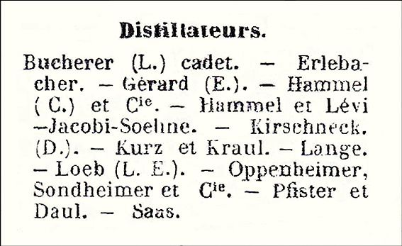 Liste des distillateurs à Strasbourg en 1889. Document Delahaye.