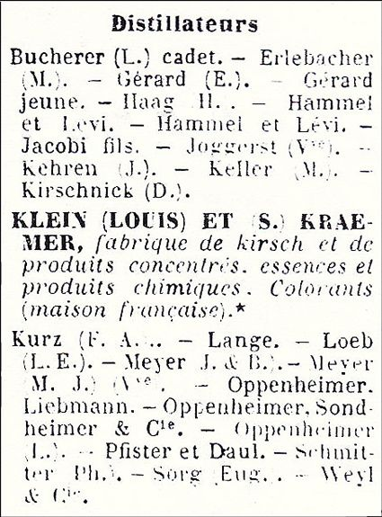 Liste des distillateurs à Strasbourg en 1898. Document Delahaye.