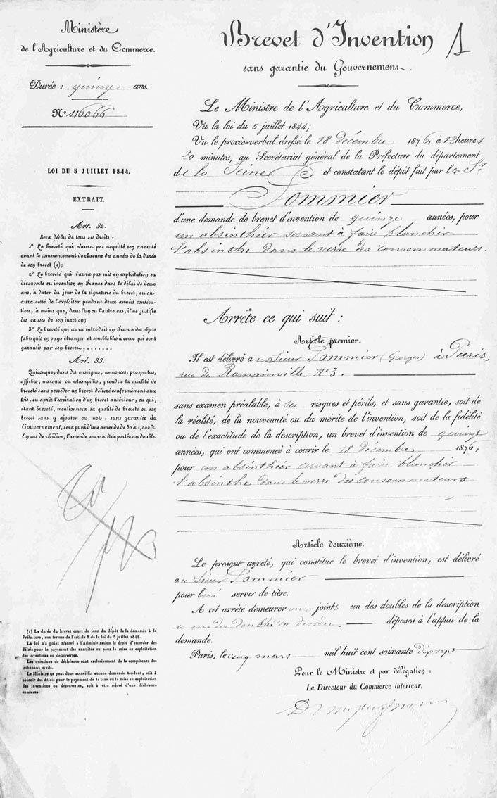 Dépôt du brevet d'invention de l'Absinthier, page 1. Archives INPI.