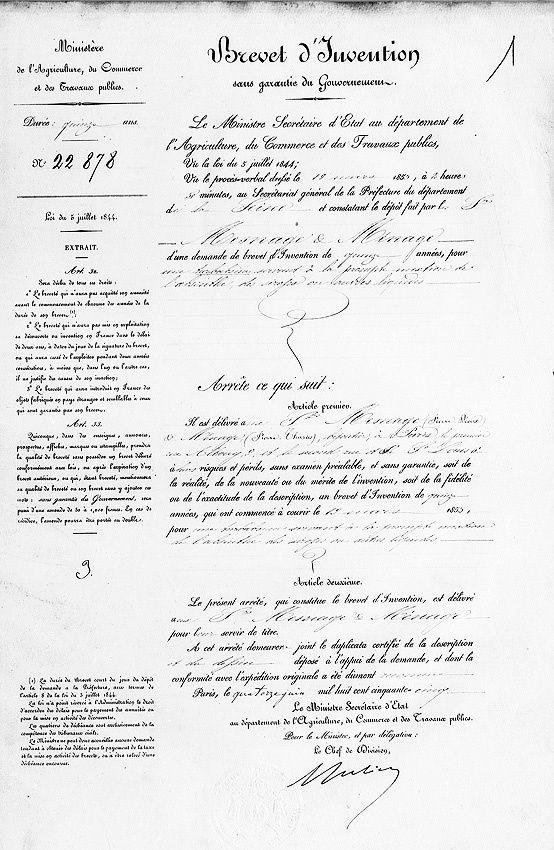 Première page du brevet d'invention. Document INPI.