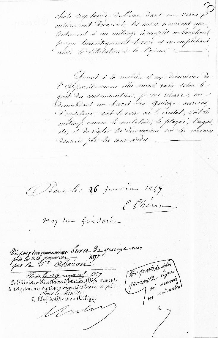 Brevet d'invention, pages 2 et 3. Description de l'appareil. Document INPI.