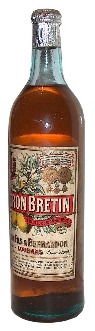 Bouteille de citronnade Bretin fils & Bernardon. Collection Masnada.