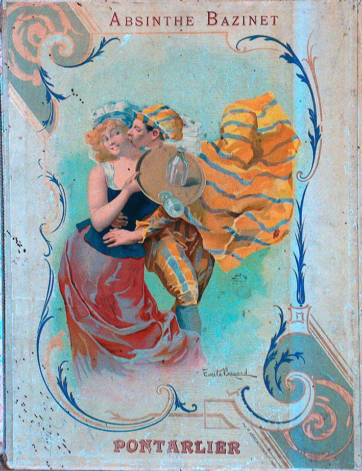 Tableau-réclame pour l'Absinthe Bazinet, signé Émile Bayard. Collection Masnada.