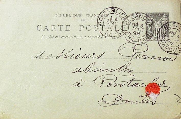 Carte postale recto-verso expédiée le 3 août 1898. Collection Blaise.