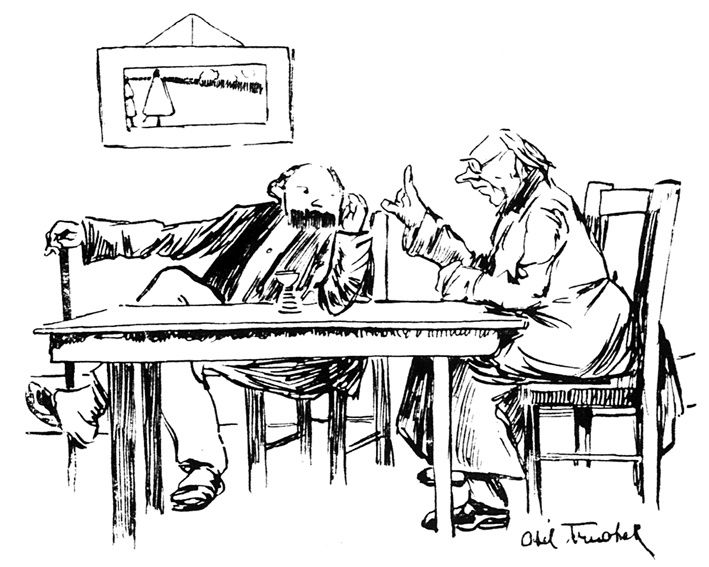 """""""Si je vous disais, lieber Schweinkopf qu'ils n'ont même plus d'absinthe !"""" Dessin de Abel Truchet paru dans La Guerre Sociale, 1915."""