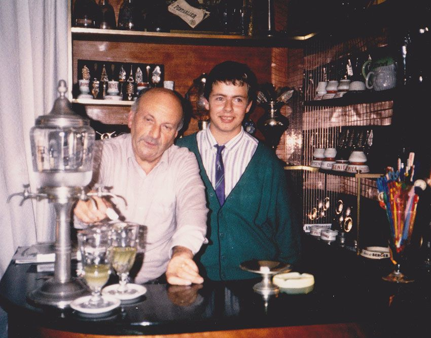 Jean-François Bitaud et son grand-oncle Pierre Jupin, en 1988.