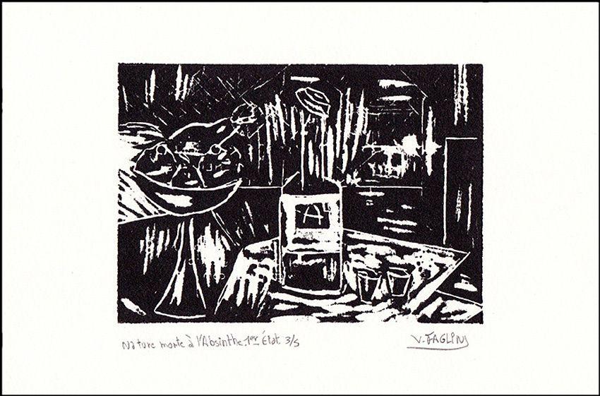 """Vincent Faglin : """"Nature morte à l'Absinthe"""". Bois gravé, 2015. Coll. Delahaye."""