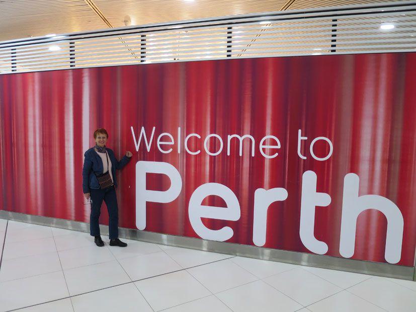 Accueil chaleureux à l'aéroport de Perth.