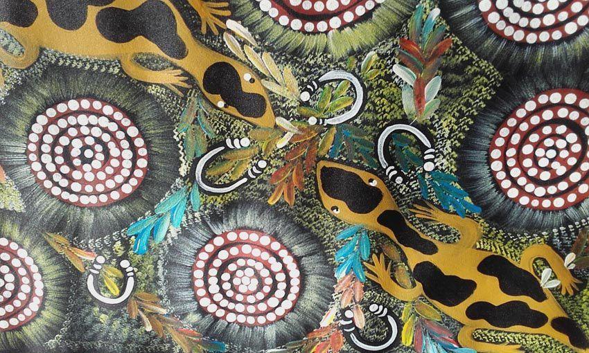 Tableau peint par les Aborigènes vivant à la station d'Arnaud. Ph. Delahaye.