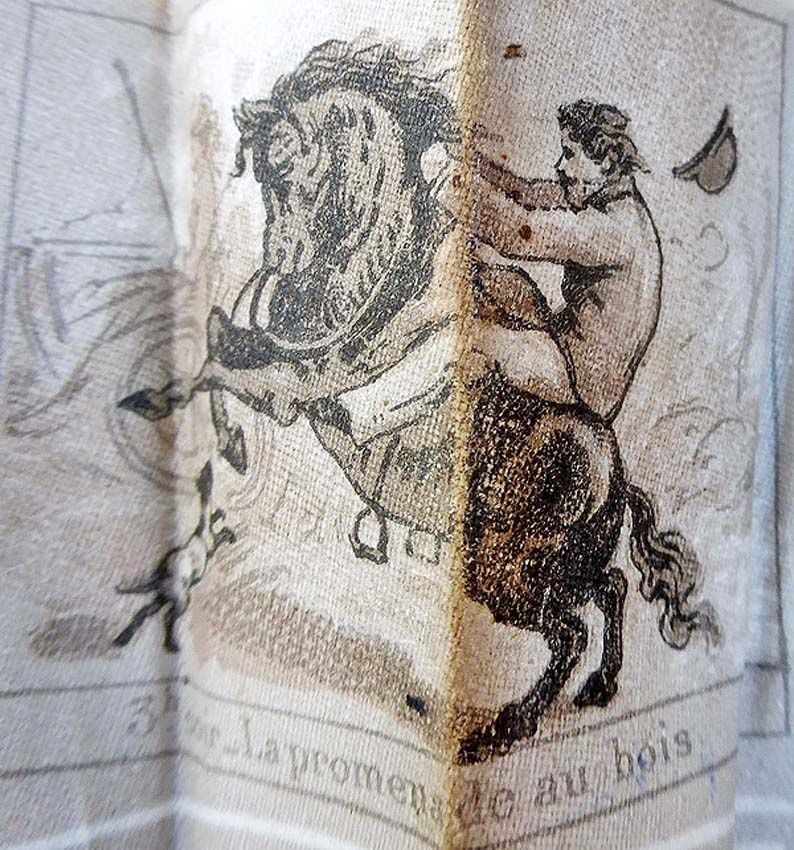 Détail : 3h soir. La promenade au bois. Le cheval se cabre ! Coll. Thuillier.