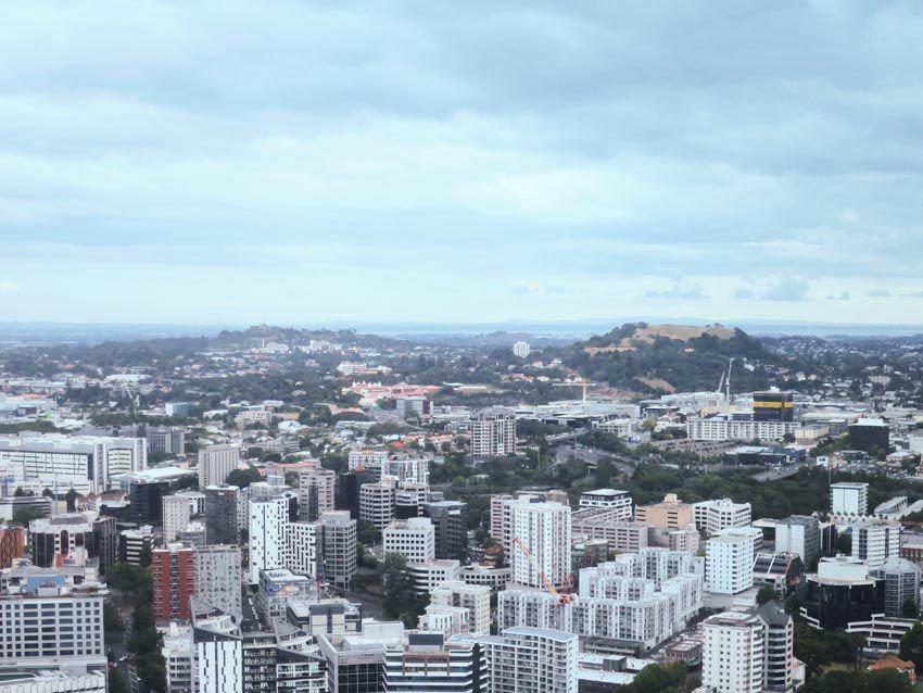 """Anciens volcans vus du haut de la tour. À gauche la """"Colline de l'arbre"""", lieu sacré Maori. L'arbre a été remplacé par un obélisque. Ph. Delahaye."""