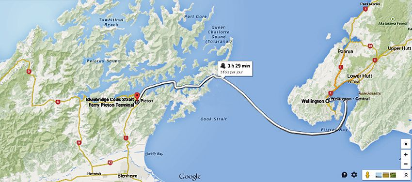 Détail de la traversée du détroit de Cook. Passage par de nombreux fjords avant l'arrivée à Picton.