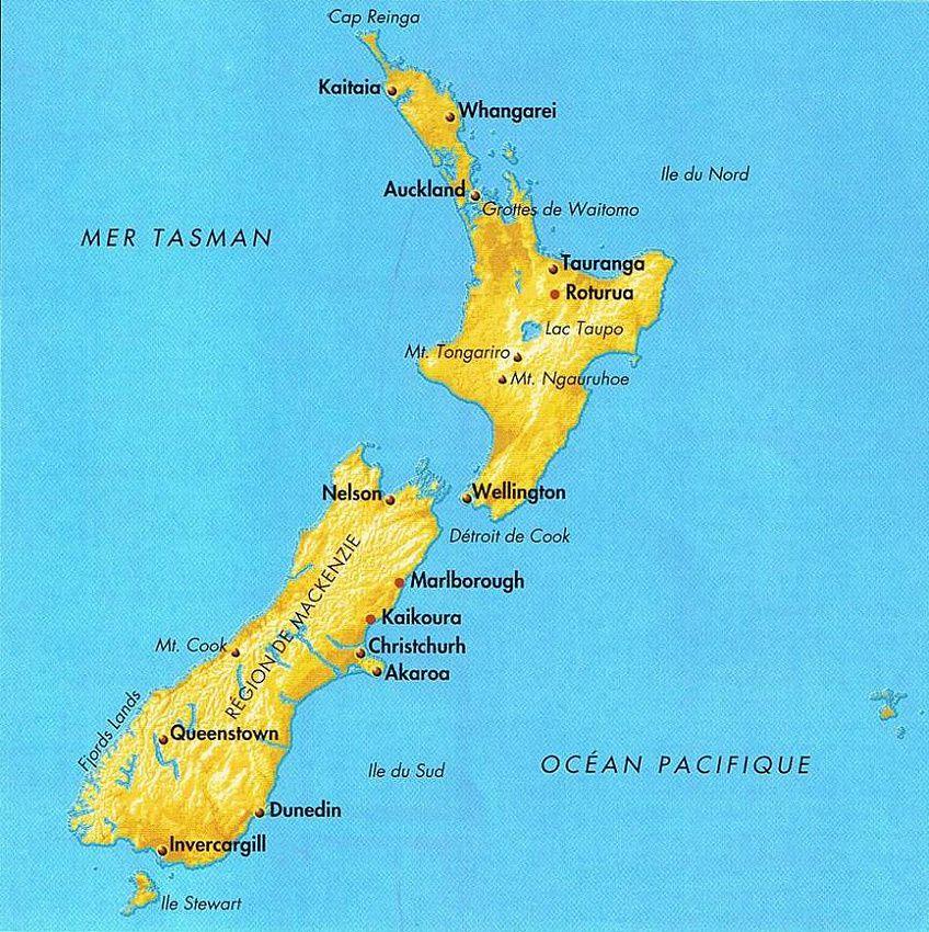 Rappel du positionnement des deux iles de Nouvelle-Zélande.