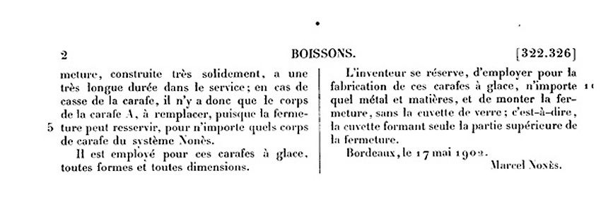 Texte de description de la carafe et dessins correspondants. Doc. INPI.