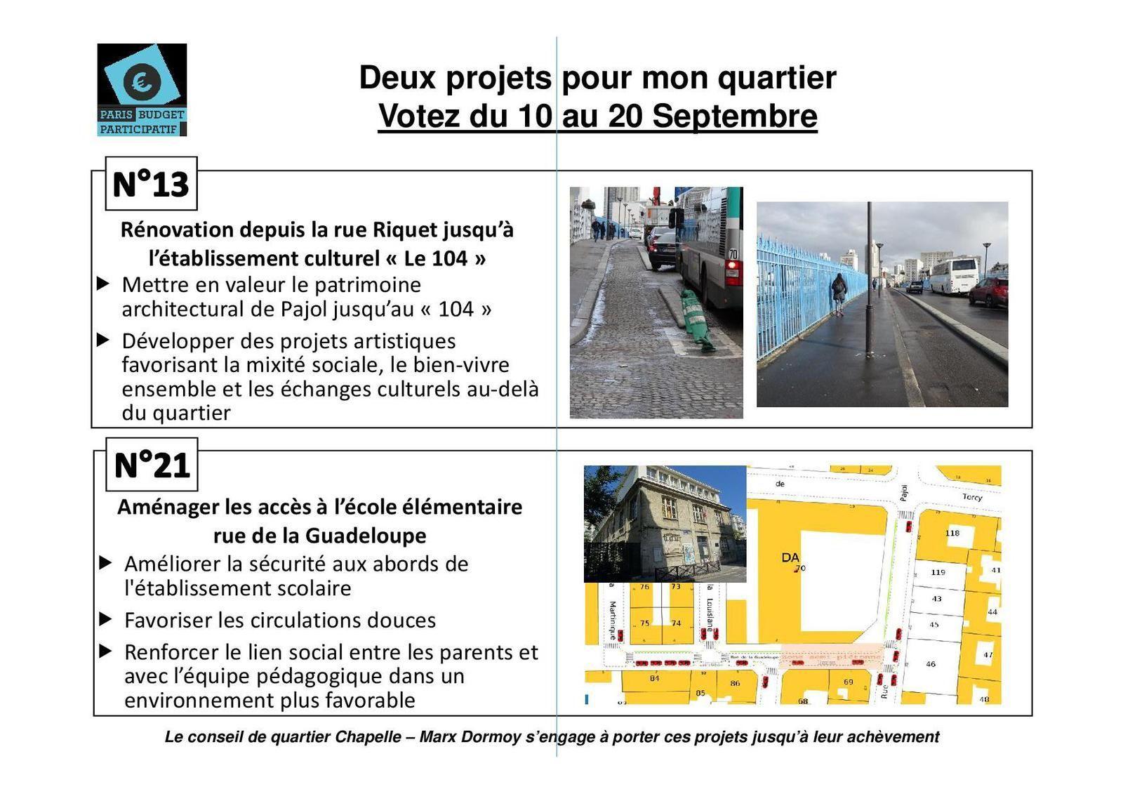 Vote participatif : jusqu'au 26 septembre 2015 votez pour le projet 13 (pont et rue Riquet) ou 21 (abords école Guadeloupe)