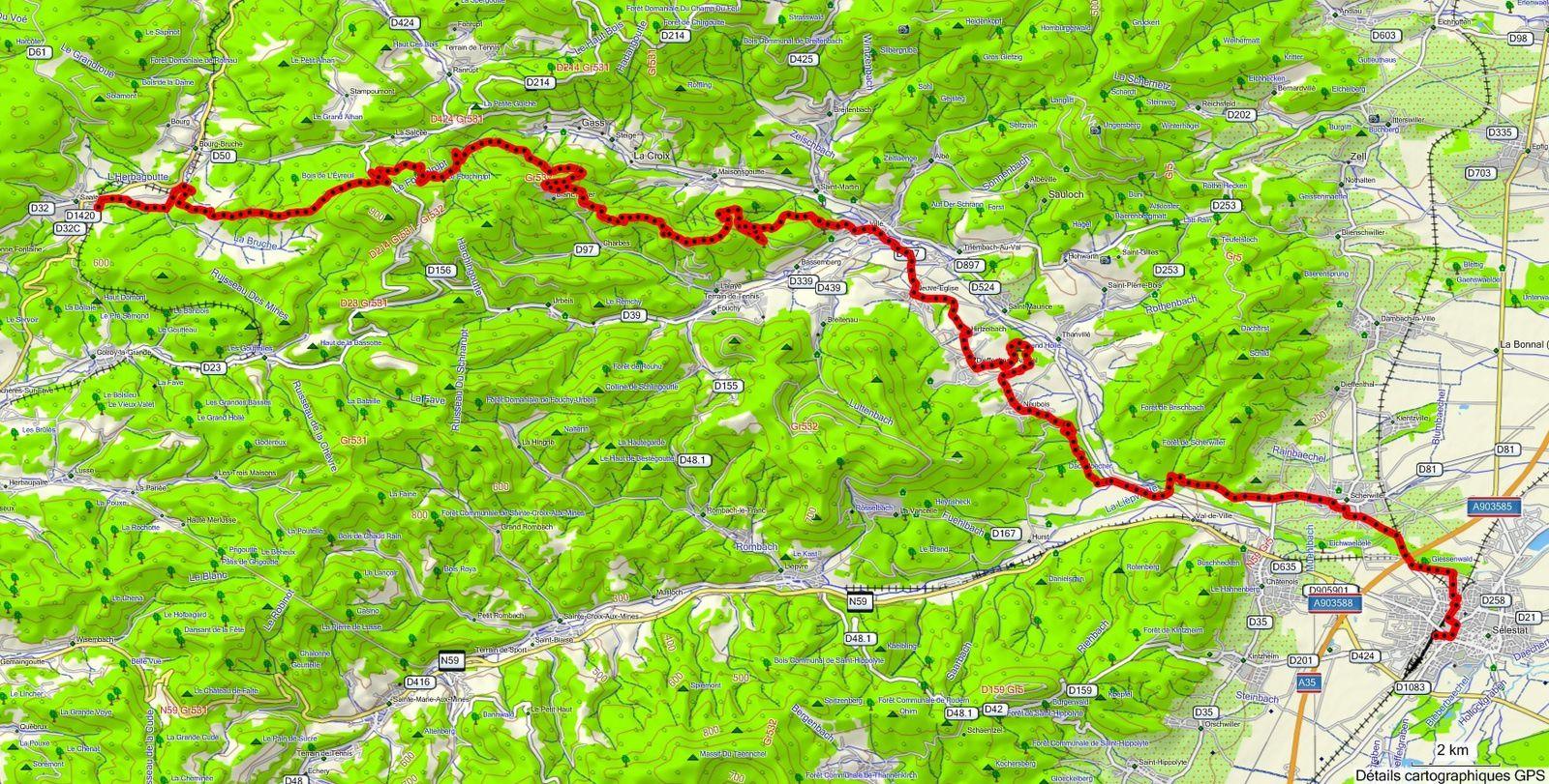 Le parcours : 47 kms - 970 m dénivelé  Départ de Saales - Le Moulin de Bruche, Bas Climont, Le Fouchlrupt, La Blanche Pierre, Champs dans les Haies, La Honel, Col du Banc du Forestier, Villé, Neuve-Eglise, Dieffenbach au Val, Neubois, Huenelmuehl et Scherwiller.