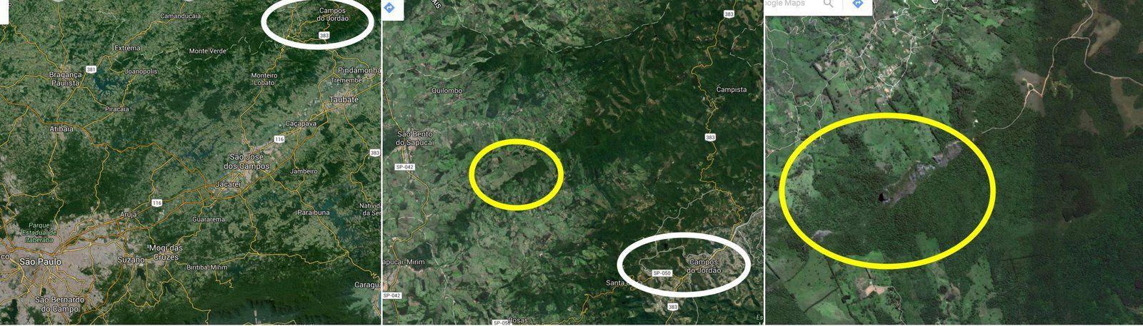 les trois rochers sont alignés NE/SO&#x3B; en partant de l'Est, qui est le point de départ de la randonnée pédestre, on trouve Bauzinho, Pedra do Bau, puis plus loin et plus petit, Ana Chata (SO).