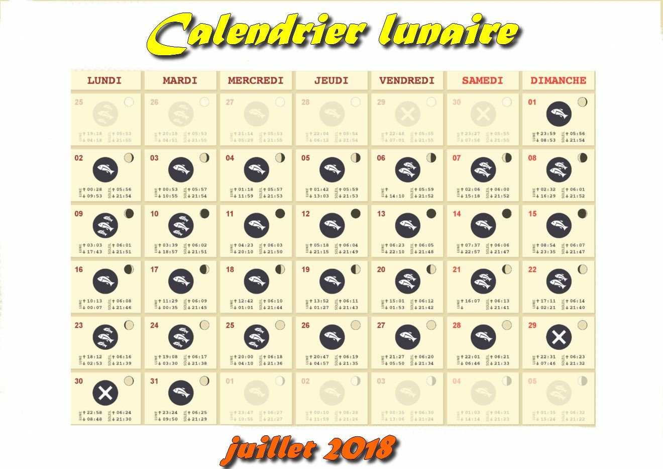 Calendrier Lunaire Juillet 2020.Calendrier Lunaire Juillet 2018 Truitepassion Fr