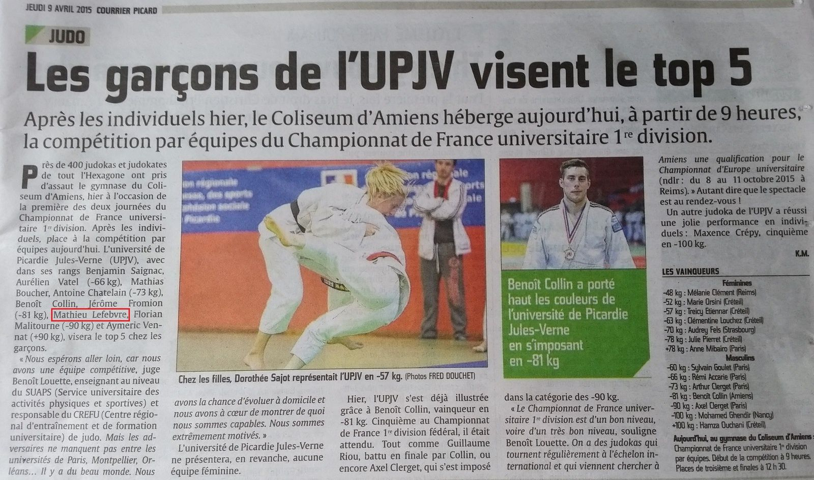 Courrier Picard 09/04/2015