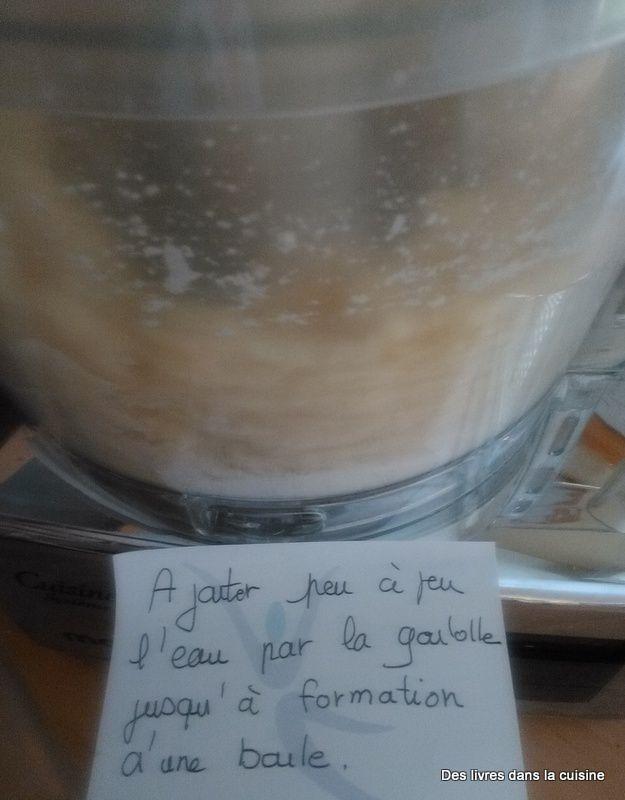 Ajouter peu à peu l'eau et faire tourner jusqu'à formation d'une boule, cela prend quelques minutes et la quantitée d'eau peu varier en fonction de votre farine ou de la qualité du beurre. A vous d'adapter cette quantité