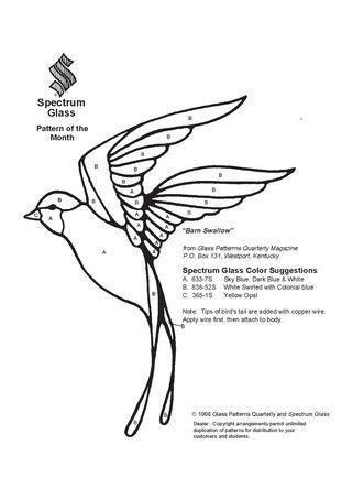 Vitrail ' Oiseau bleu '