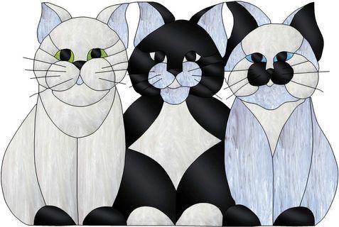 Dessin pour vitraux trois chats vitrail tiffany - Dessin vitraux ...