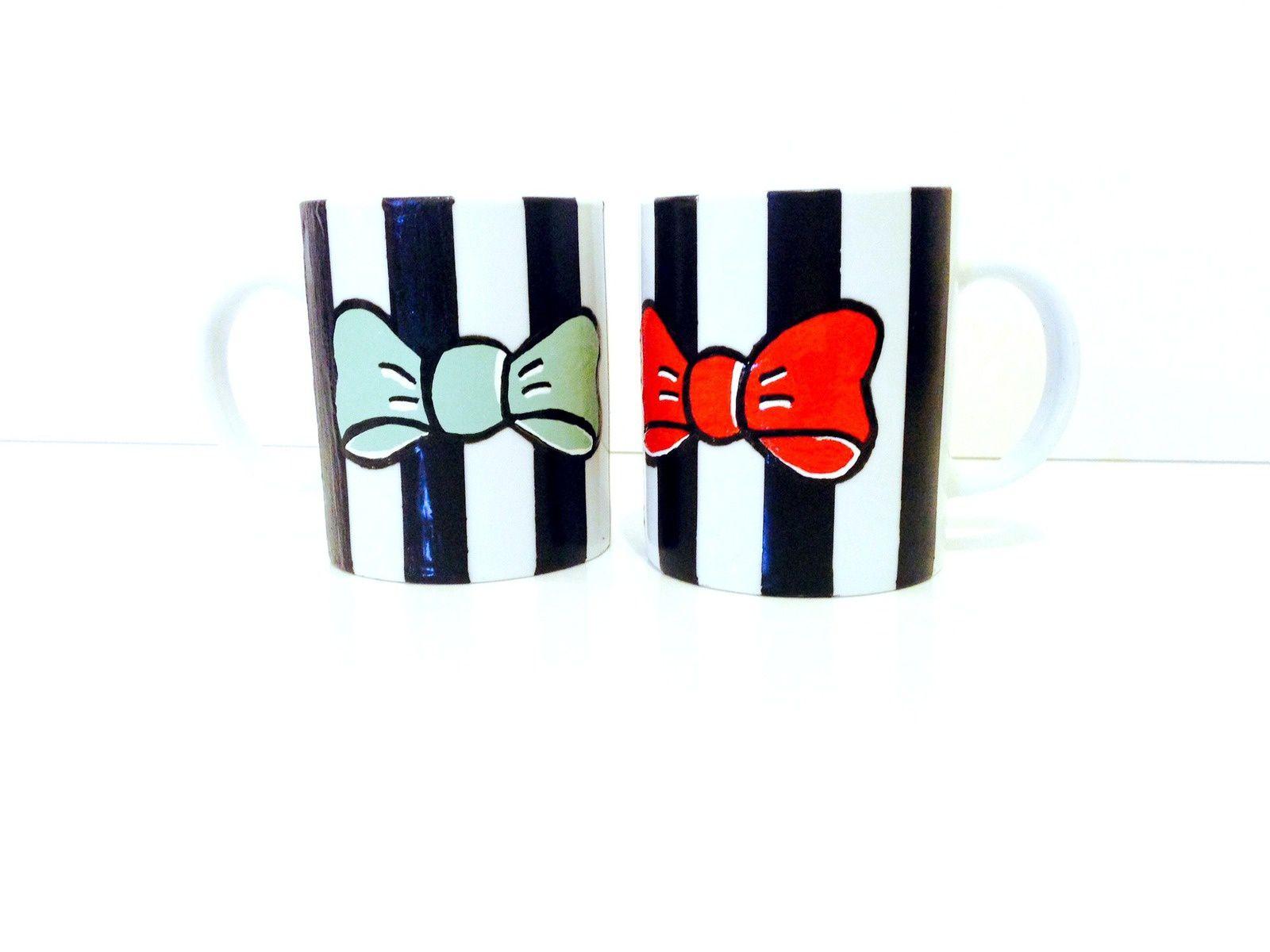 Tasses Graphiques Noir et Blanc, menthe et corail, en vente 30€. © SophieLDesign