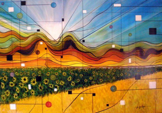 CHANTS DU GRAND SOLEIL Acrylique sur Toile: 102 x 71 (collection privée) Profiter du goût de la liberté et courir dans les champs, qu'ils soient de tournesol ou de blé, ils sont une palette dorée des couleurs de l'été. Savoir s'arrêter et écouter, imprégner son corps et son cœur de cette harmonie de l'instant. Batifoler et chanter puis choisir de se débarrasser de tout ce qui entrave son esprit, son énergie, retrouver l'équilibre dans la chaleur bienfaisante d'un solstice rêvé.