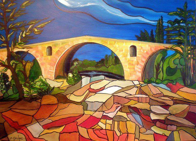 PONT JULIEN Acrylique sur Toile: 70 x 50 (550 €) Pont romain construit sur l'ordre de Jules César en l'an 3 avant Jésus Christ, il est classé monument historique et se situe sur la ''via domitia'' qui allait de Narbonne à Turin. Au cœur du Vaucluse, non loin du village de Bonnieux il doit son nom à  la ville d'Apt qui s'appelait alors ''Colonia Apta Julia''. Chevauchant les eaux du Cavalon, ce bel ouvrage d'art provençal a été réalisé grâce à la pierre calcaire des carrières du Luberon.