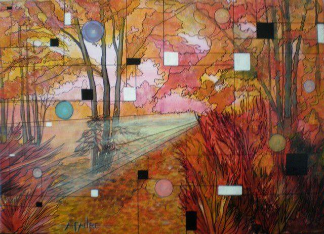 ROUGE AMOROSO  Acrylique sur toile : 70 X 50  (550 €) Qui ne se souvient pas d'une amourette ou d'un amour en automne ? Même si le sacre du printemps joue en la faveur d'une effervescence naturelle, nous avons beaucoup aimé cette promenade en forêt par une belle journée de novembre. A cette période, l'exaltation des couleurs et celle des rouges en particulier ne peut qu'amplifier l'impression de chaleur et de passion.