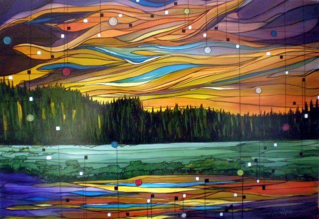 PASSION CHROMATIQUE Acrylique sur Toile: 102 x 71 (œuvre vendue) C'est à l'heure où les oiseaux se posent et que le vent s'esquive, c'est à ce moment précis où le silence en impose, que le climat d'un paysage peut nous envahir. C'est le cas dans les contrées hautes où les lacs des  montagnes n'en finissent plus de réfléchir avec scintillement, l'espace infini qui est  au dessus de nos têtes. Spectacle impressionnant pouvant déconcerter les meilleurs impressionnistes!