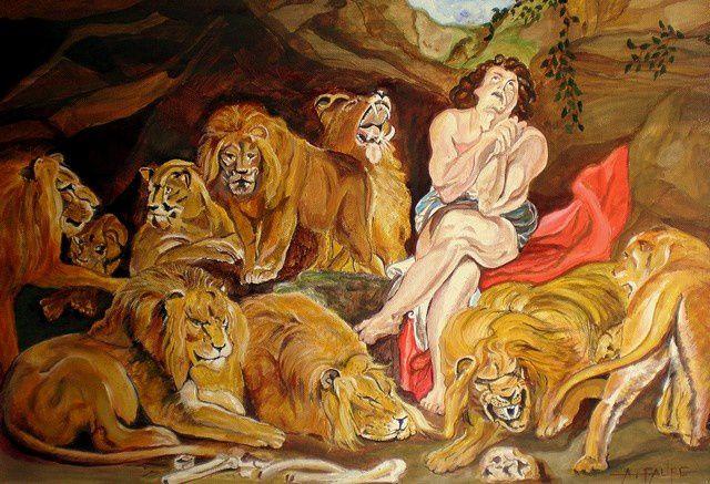 DANIEL DANS LA FOSSE AUX LIONS Acrylique sur Toile : 60 x 40 (collection privée) D'après l'oeuvre de Rubens