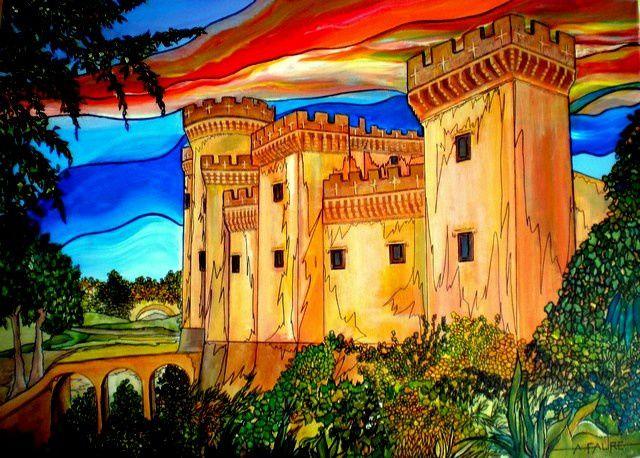 TARASCON DES CHEVALIERS Acrylique sur Toile: 70 x 50 (550 €) C'est grâce à ce bon roi René que le 14 avril 1474 fut créé l'ordre des Chevaliers de la Tarasque. Aujourd'hui, chaque dernier week-end de juin la Tarasque (bête maligne) sort de sa tanière et les Tarasconnais en profitent pour remercier Sainte Marthe de les avoir délivrés de ce monstre légendaire. A cette occasion la belle forteresse provençale surplombant le Rhône reprend des couleurs...sans doute une résurrection programmée.