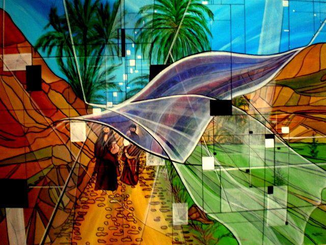 VOILES HORIZON SUD Acrylique sur Toile : 116 x 89 (600 €) Dans le petit sentier qui mène à la maison, elles se racontent des histoires. Elles parlent de leur famille, de leur vie au quotidien, de leurs amours peut-être. Elles savent leur bonheur d'exister, elles avancent en riant sous les voiles d'une protection divine.