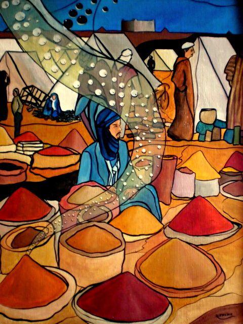 MARCHE AUX EPICES Acrylique sur toile : 65 X 50 (250 €) Il est onze heures du matin et le soleil est dur sur la place jemaa el fna. Tout près de là, dans le tumulte ambiant de Marrakech on y trouve le marché aux épices. Une sensation très agréable provoquée par les parfums qui se mélangent et les couleurs qui se croisent, se superposent. Quel enivrement !