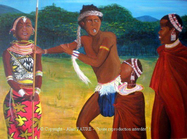 MASAÏ-NANAS Acrylique sur toile : 100 X 81..........500 €  Mais pour qui te prends-tu avec ton sifflet à la bouche et ton air arrogant ? Nous sommes des femmes, en cela tu as raison, car nous donnons la vie, nous construisons des huttes, allons puiser l'eau, faisons des vêtements, commerçons avec les tribus voisines et bien entendu nous devons être belles et séduire ! Mais attention, «femmes courage», nous pouvons aussi être de puissantes guerrières !