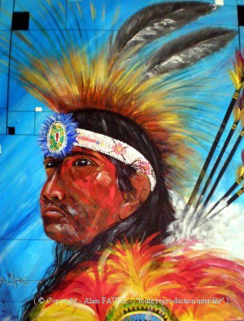 SHAWNEE Acrylique sur toile : 54 X 46..........150 €  Que tes ancêtres soient du Colorado, du Kansas, de l'Ohio, ils ont tous été chassés de leur territoire pour se rassembler aujourd'hui en Oklahoma, d'autres en Alabama. Toi le grand guerrier «Blue Jacket» dont le véritable nom était Weyapiersenwah, tu as su trouver la sagesse nécessaire pour que ton peuple puisse un jour vivre en paix.