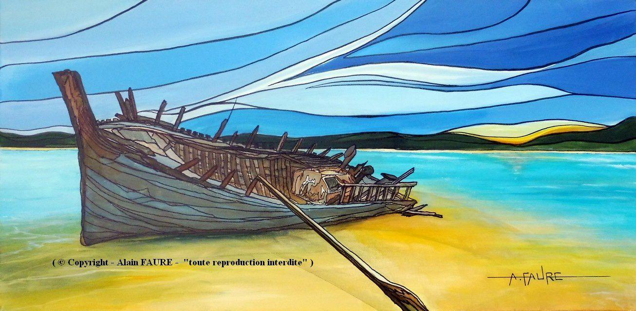FORTUNE DE MER Acrylique sur Toile : 80 x 40..........500 € -  L'évocation du monde marin en peinture exige une analyse prudente, tant se posent des questions liées à un paysage idéal à la recherche du pittoresque, du fantastique ou du réalisme. Au-delà de cette volonté de transmettre une réelle émotion, il est primordial d'aimer la mer, son environnement, mais aussi ses plus belles histoires comme ses plus dramatiques. Si certaines épaves pouvaient parler, elles nous étonneraient sans doute.