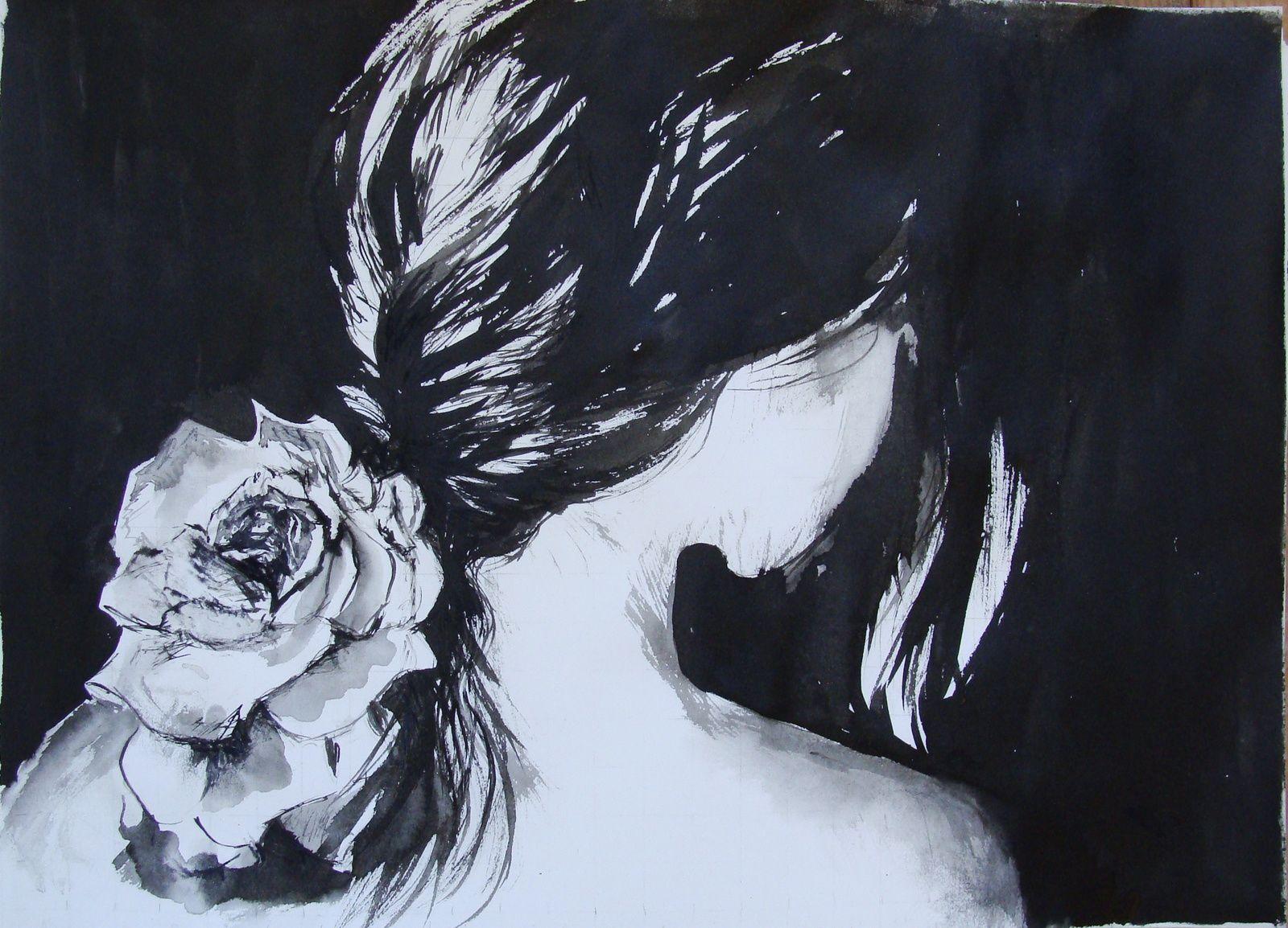 dessin à l'encre : jeune fille à la rose