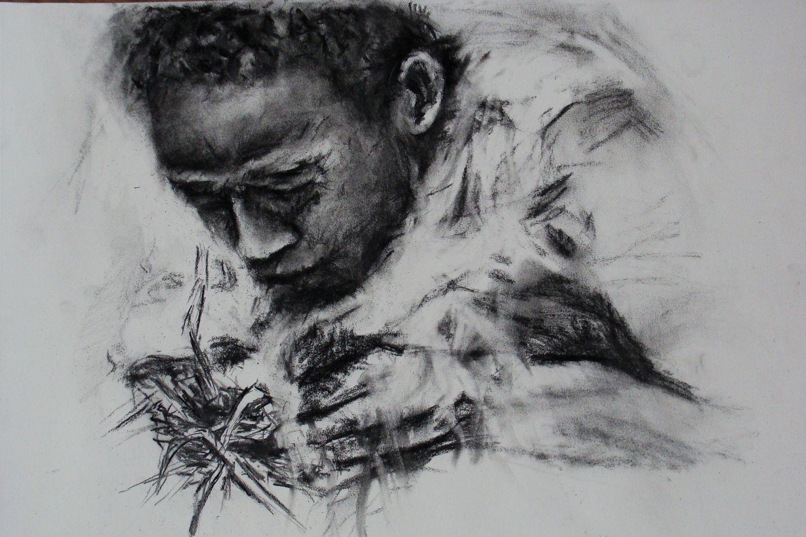 dessin : Bushman faisant du feu
