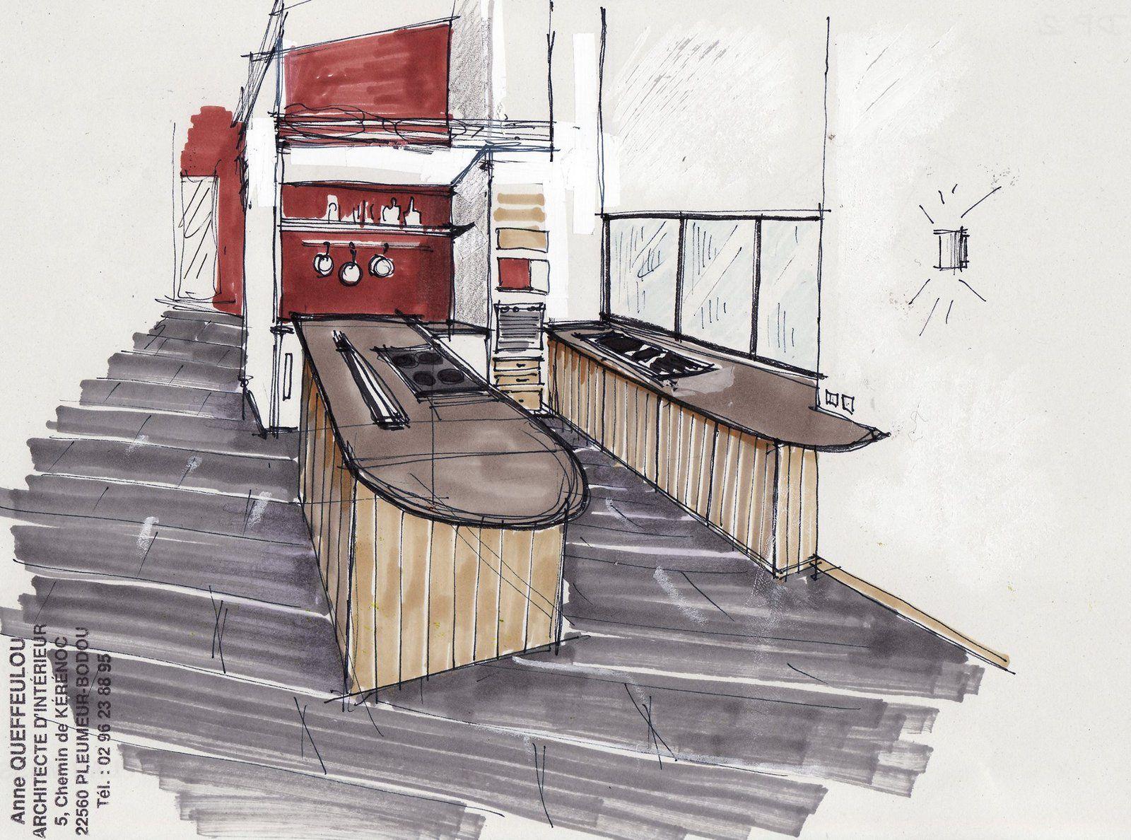 Cuisine fabriqué en collaboration avec l'architecte interieur  Anne Queffelou