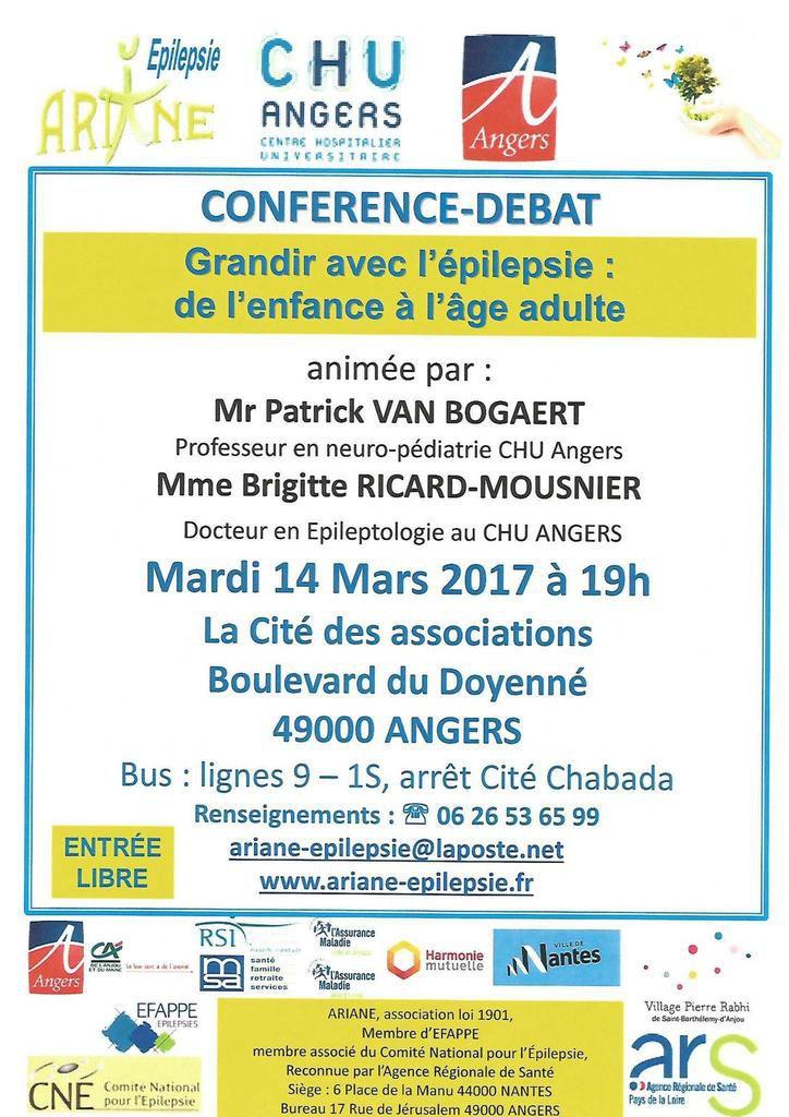 conférence débat sur le thème grandir avec l'épilepsie : de l'enfance à l'âge adulte le 14 mars 2017 à Angers
