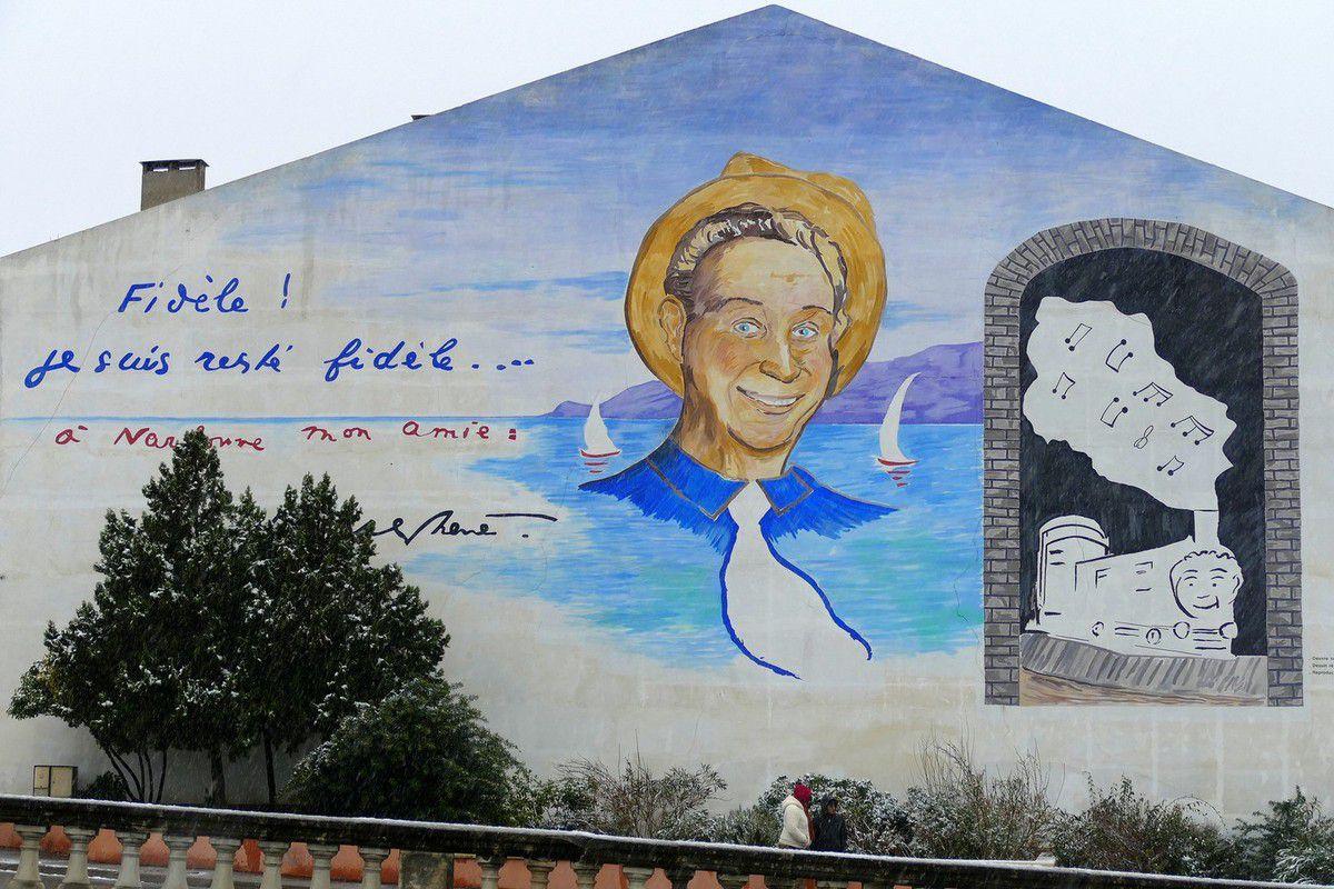 Le mur peint en hommage à Charles Trenet (janvier 2016, images personnelles)