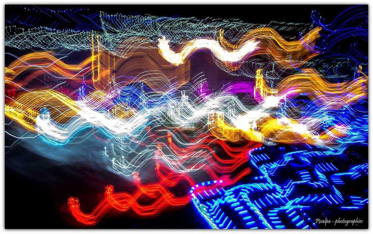 Light painting sur illuminations de noel........