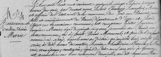 Ton acte de naissance : AD 28 Registre d'état civil Cote 3 E 405/11