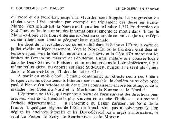 La marche du choléra en France : 1832-1854