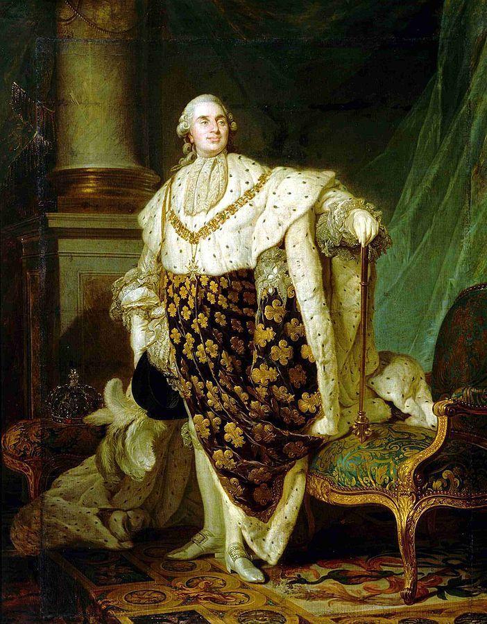 Louis XVI en habit de sacre, Joseph-Siffrein Duplessis, 1777, musée Carnavalet. Par Joseph-Siffrein Duplessis — Musée du Carnavalet - Paris, Domaine public, https://commons.wikimedia.org/w/index.php?curid=9438902